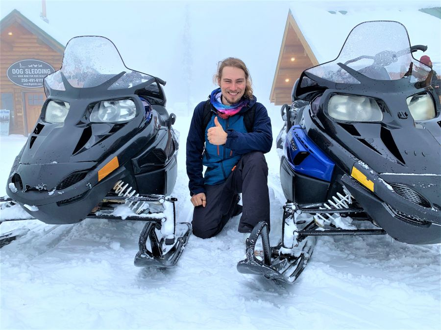 </who>Maxime Hudon drove from Montreal to Kelowna (in a car) to start his new job at Outback Snowmobile Tours at Big White Ski Resort.